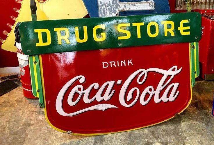 Original Coca-Cola Drug Store Porcelain Sign