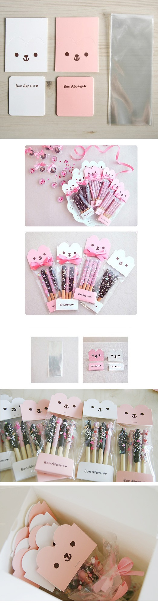 Pepebear header Tag Package(white5+Pink5)