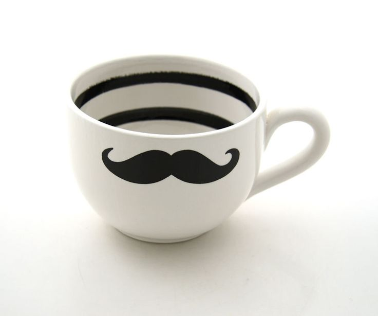 Moustache Mustache Soup or coffee Mug Oversized Black and white modern with stripes. $18.00, via Etsy.