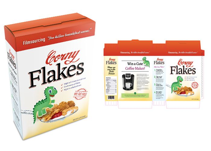 Mainstream Cereal Package - FREE Art Department Resources for film. To appeal to a wide demographic, this cornflakes packaging comes with a cartoon dinosaur, hidden sugars and high sodium to get you all addicted.  #filmmaking #resources #design