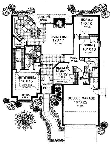 Floor Plans AFLFPW19024   1 Story Tudor Home With 4 Bedrooms, 2 Bathrooms  And 1,805