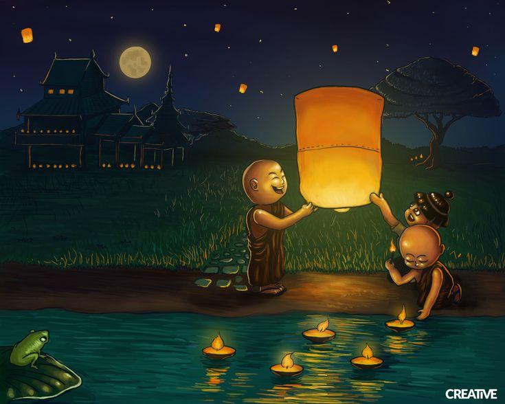 Thadingyut Festival Illustration