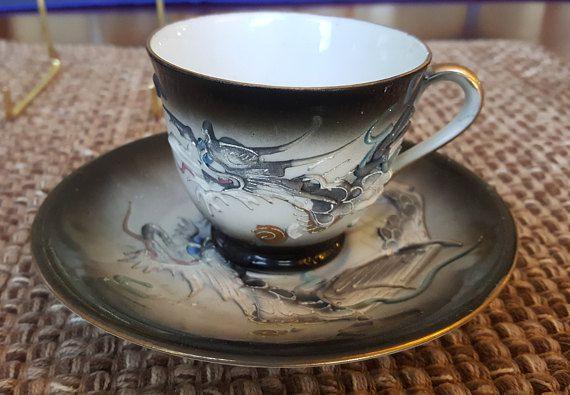 Demitasse Dragonware moriage tea cup and saucer | Vintage