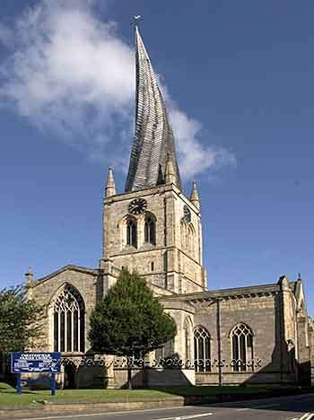 Church of Our Lady and All Saints at Chesterfield, Derbyshire, England, noted for its twisted and bent spire