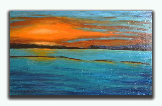 Landscape Painting  Seascape Original Painting   by RomanArtStudio, $279.00