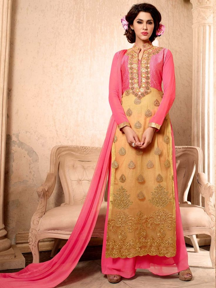 Charming golden color net kameez adorned with gleaming zari work with pink color #Palazzo pant and dupatta.  Item Code: SLANA1009N http://www.bharatplaza.com/new-arrivals/palazzo-suits.html