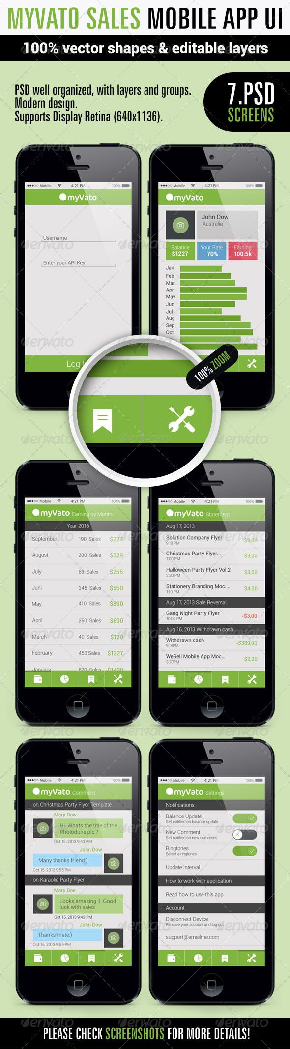 MyVato App Ui  #GraphicRiver         7 psd file included:  Home Login Page Earning Page Statement Page Comment Page Setting Page Setting Page + Pop up  PSD well organized, with layers and groups. Modern design. Supports Display Retina (640×1136). Supports Iphone 5, Iphone, SmartPhone.  Used font:  Roboto  .dafont /roboto.font Myriad Pro  .myfonts /fonts/adobe/myriad/regular/  If you purchase, please vote this item. Thank you! Thank you very much!     Created: 23October13…