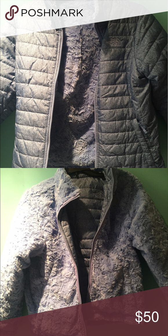 Blue north face reversible jacket never worn Fuzzy blue reversible jacket fleece and water resistant never worn. Original price $110 selling for $50 or best offer. I wear a 12-14. Never worn✨ North Face Jackets & Coats Puffers