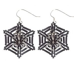 Halloween Jewellery Project Tutorial - how to make Spider Web Earrings