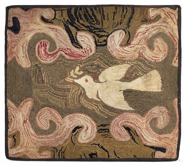 American Hooked Rug Of A Dove 19th C 33 X 36 1