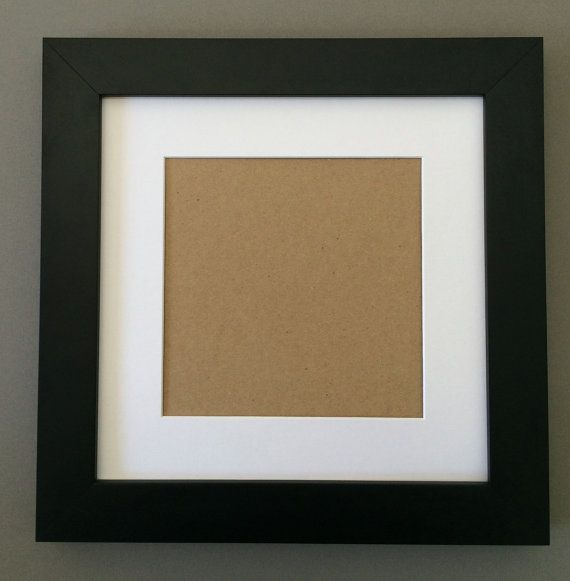 10x10 1 1 2 Black Frame With White Picture Mat Cut For 6x6