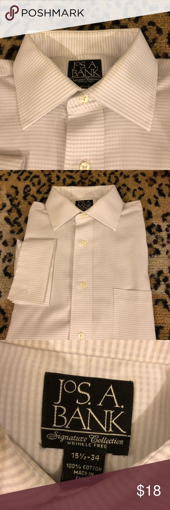 Jos A Bank White Check French Cuff Shirt 15.5-34 Jos A Bank Signature Collection White and Grey Check French Cuff Dress Shirt size 15.5-34! Like new!  Please make reasonable offers and bundle! Ask questions :) Jos. A. Bank Shirts Dress Shirts