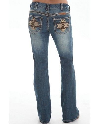 Cowgirl Tuff® Ladies' Golden Aztec Jeans - very cute and neutral stitching goes with anything!
