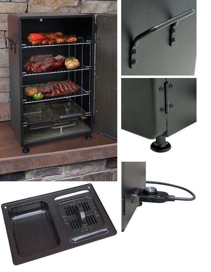 Electric Meat Smoker BBQ Grill Barbecue Outdoor Portable Cooker Backyard Patio #BBQSmokersCollection