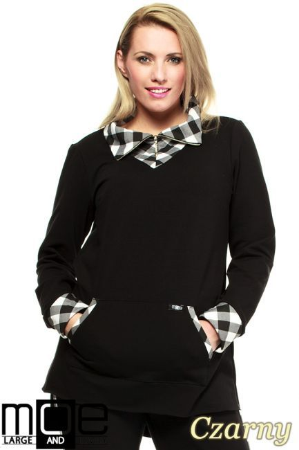 Modna, asymetryczna bluza dresowa z golfem w kratkę marki MOE.  #cudmoda #moda #styl #ubrania #bluzy #clothes #blouses #xxl #plus_size
