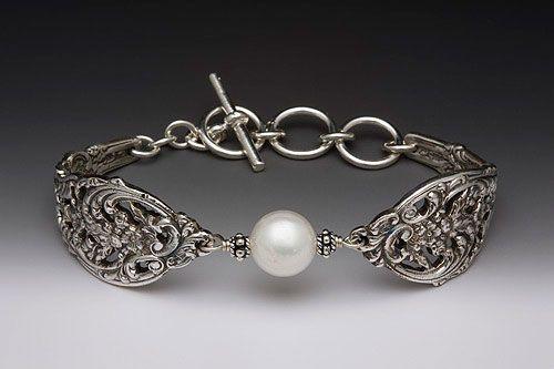 English Lace Spoon BraceletOld Silverware, Lace Pattern, Jewelry Bracelets, Spoons Jewelry, Sterling Silver, Silver Spoons, English Lace, Spoons Bracelets, Pearls Bracelets