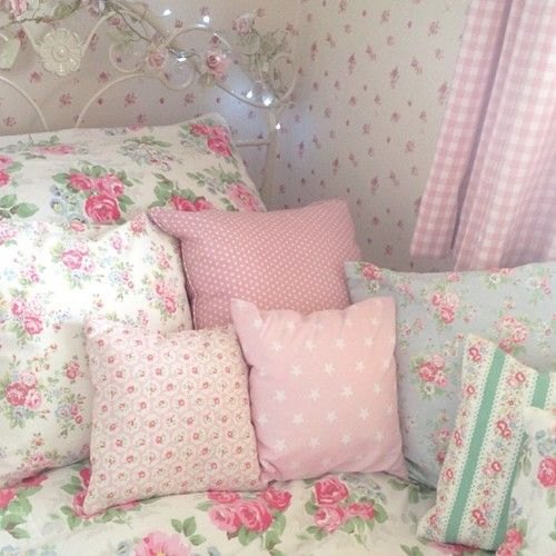 bed, bedroom, design, pillows, cute, flowers, decor, girly, interior, pink, kawaii, pastel, room, lovely, rosy