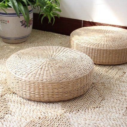 3 Bees Japanese Style Handcrafted Eco Friendly Breathable Padded Knitted Straw Flat Seat Cushion Futon Mattress Cattail Typha Mat Hand Woven Tatami