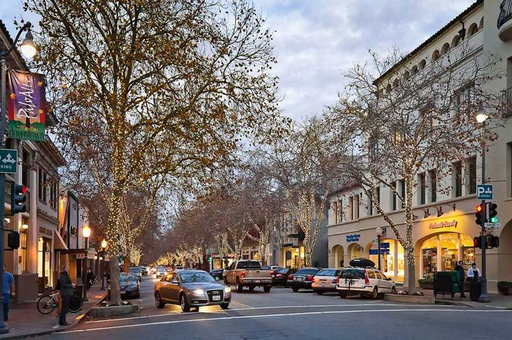 This is downtown Palo Alto (about 20 min north of Santa Clara where Stanford is located). Their downtown is really cute and has fun shopping and restaurants! Also the Palo Alto Shopping Center is a big outdoor place to shop too
