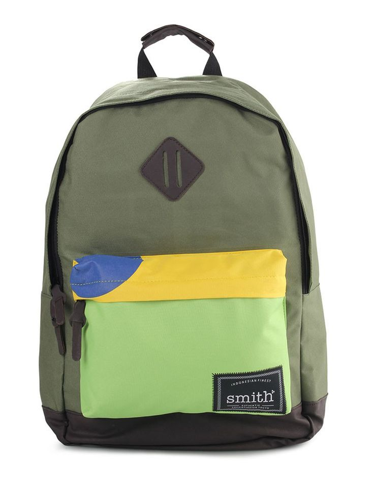 Brazil Bag by smith. Canvas bag with green army color. With contrast color block in front pocket, patch with smith logo,Padded shoulder strap, you can wear this bag to the class to the field or the gym. http://www.zocko.com/z/JINnJ