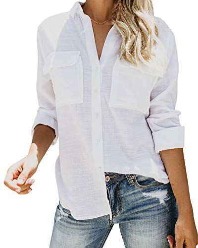 150326f77 New Inorin Womens Casual Tops V Neck Button Up Shirts Linen Cuffed Sleeve  Collared Slit Blouse. Women fashion Tops [$12.98 - 22.98] from top store ...