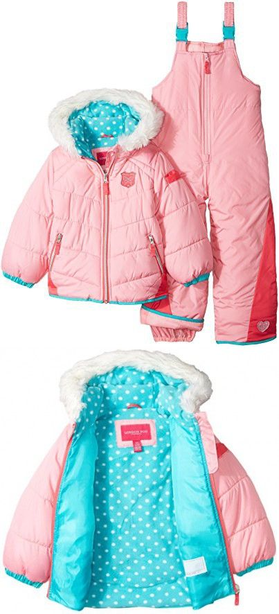 8e5f7e392 London Fog Baby Girls  Snowsuit with Snowbib and Puffer Jacket ...