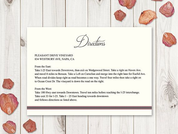 Wedding Directions Template Classic Roses. by ShishkoTemplates