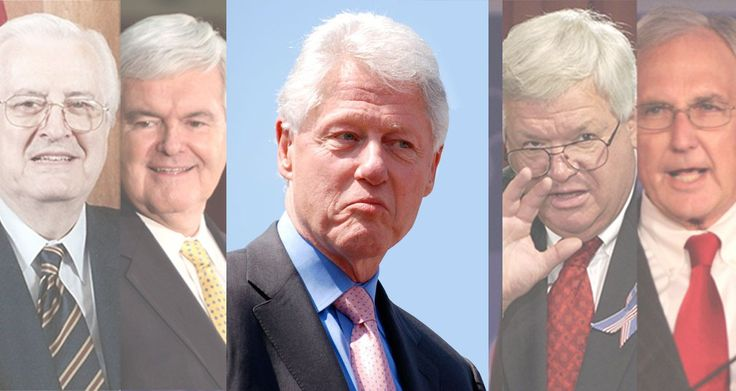 Things have come full circle now, with all the key Republican players in the Clinton impeachment hearings proven now to be hypocrites and liars.  HENRY HYDE, NEWT GINGRICH and BOB LIVINGSTON were all caught having multiple affairs.  DENNIS HASTERT admitted to sexually molest high school boys for years. More http://samuel-warde.com/2015/06/the-republican-hypocrites-who-led-the-impeachment-of-bill-clinton/  Republican outrage at their own? Nope.