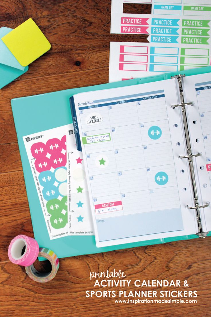 Children S Calendar With Stickers : Youth sports planner stickers best crafts on pinterest