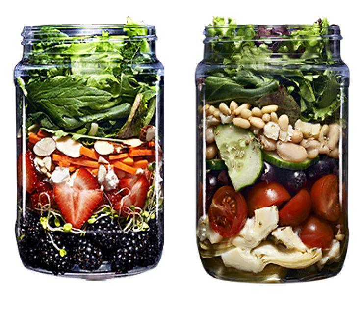 Pre-pack salads into mason jars