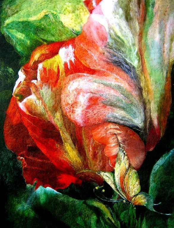 """Set of felt for clothing. """"As sleep flowers"""" Mysterious story: tulip in a fantastic night in the jungle grass.  The plot is made based on paintings Carol Cavalaris. Dimensions of the main pieces of approximately 130cm x 60cm (excluding the size of the lattice). Batik was not used."""