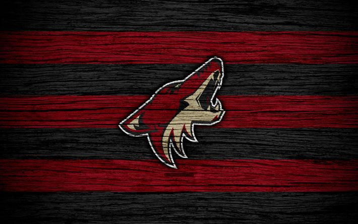 Download wallpapers Arizona Coyotes, 4k, NHL, hockey club, Western Conference, USA, logo, wooden texture, hockey, Pacific Division