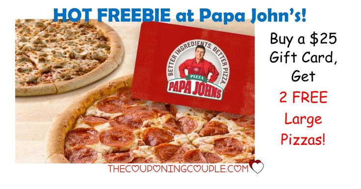 HOT DEAL! Buy a $25.00 Papa John's eGift Card and get TWO FREE Large Pizzas! Great gift idea! Or grab for yourself for movie or football bowl game parties!  Click the link below to get all of the details ► http://www.thecouponingcouple.com/buy-25-papa-johns-gift-card-get-free-two-large-pizzas/ #Coupons #Couponing #CouponCommunity  Visit us at http://www.thecouponingcouple.com for more great posts!