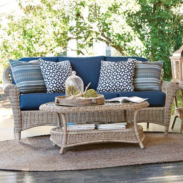 """35""""h x 80""""w x 35""""d Lynwood Wicker Sofa with Sunbrella® Cushions"""