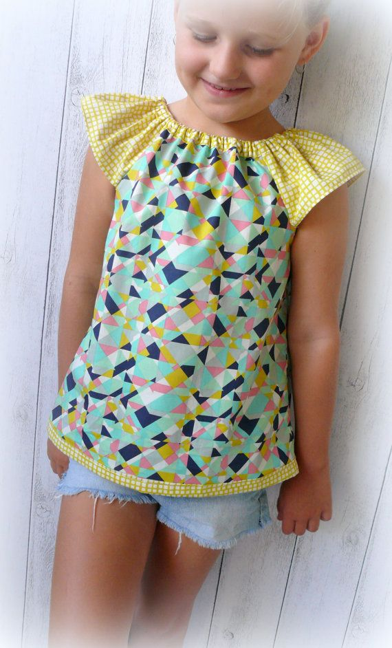 Girl summer cotton a top with flutter by LittleMacsClothing, $32.00