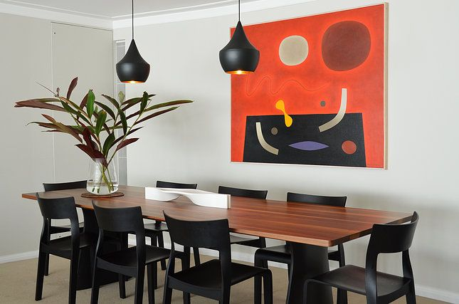 Circular Quay Harbour Apartment - Swan Studio Interior Design | apartment dining room john coburn artwork matt dixon pendant