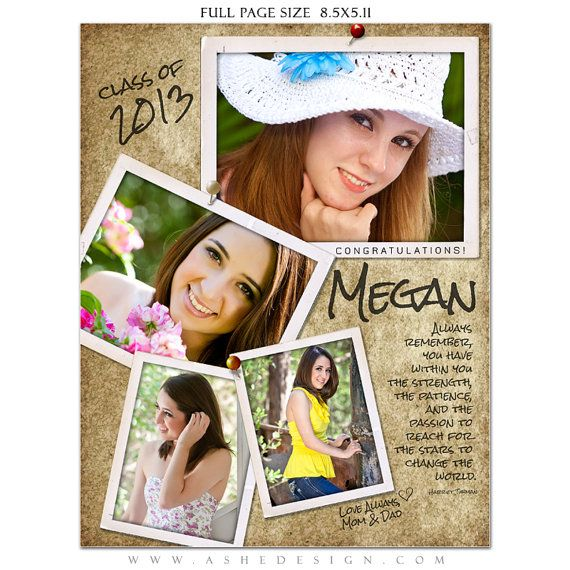 SENIOR Yearbook Ad Sets for Photographers - PHOTOGRAPHS - (3) Photoshop Templates - Full page, Half page & Quarter Page Designs