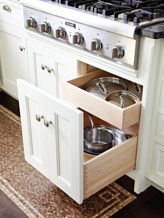 pot & pan storage. Very interesting alternative to the more expensive wide drawer stack.