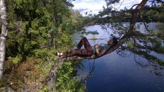 Relaxing at Kaitalampi lake in Espoo, Finland