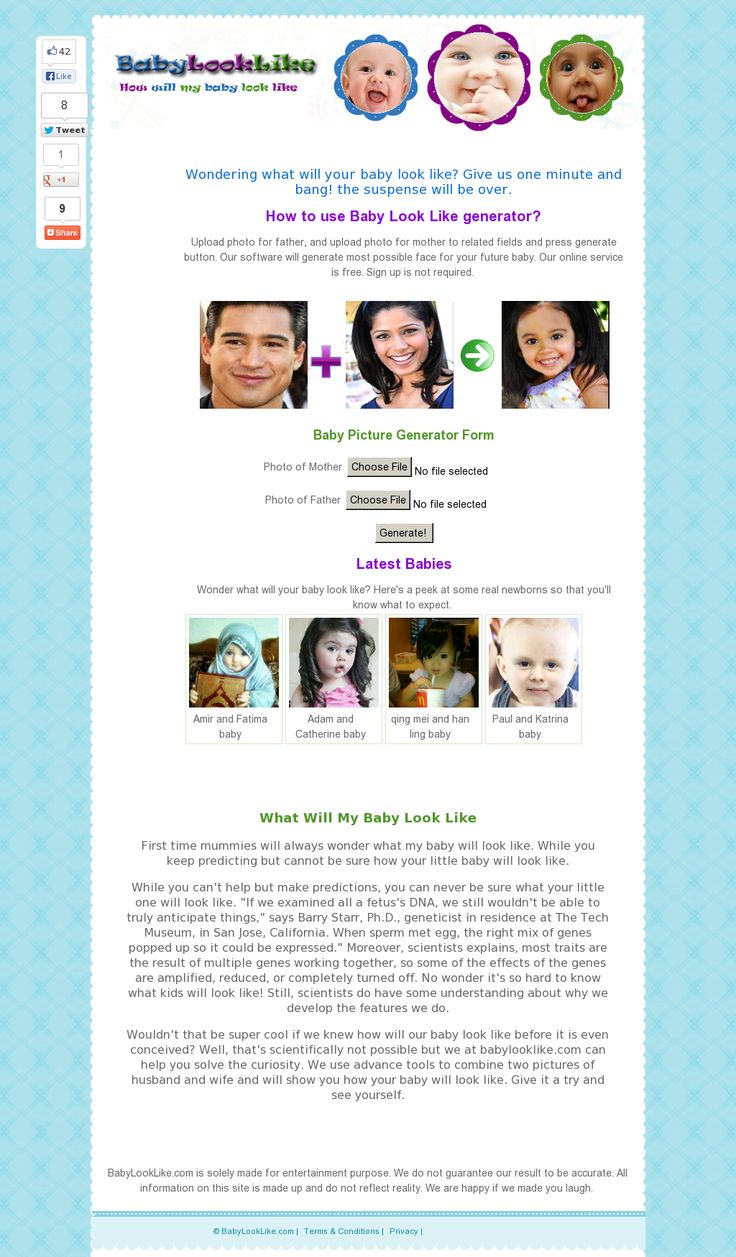 Wondering what will your baby look like? Give us one minute and bang! the suspense will be over. Check us out >> what will my baby look like, baby look like, how will my baby look --> www.babylooklike.com