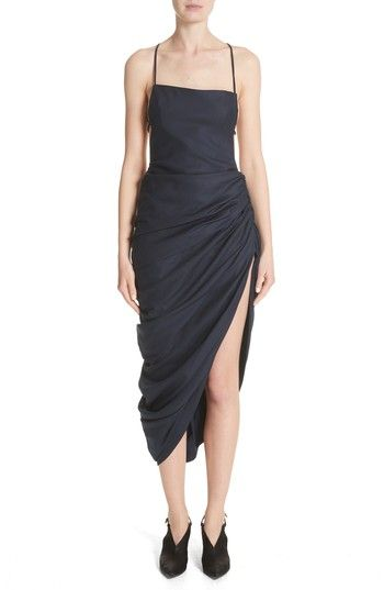 Free shipping and returns on Jacquemus La Robe Saudade Longue Dress at Nordstrom.com. Lavish, asymmetrical side gathers create a dramatic draped effect for a lightweight wool dress fashioned with whisper-thin crossback straps.