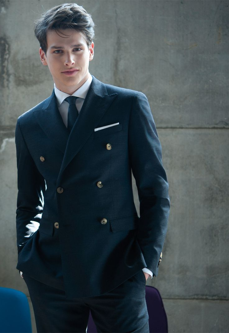 Navy double breasted suit.