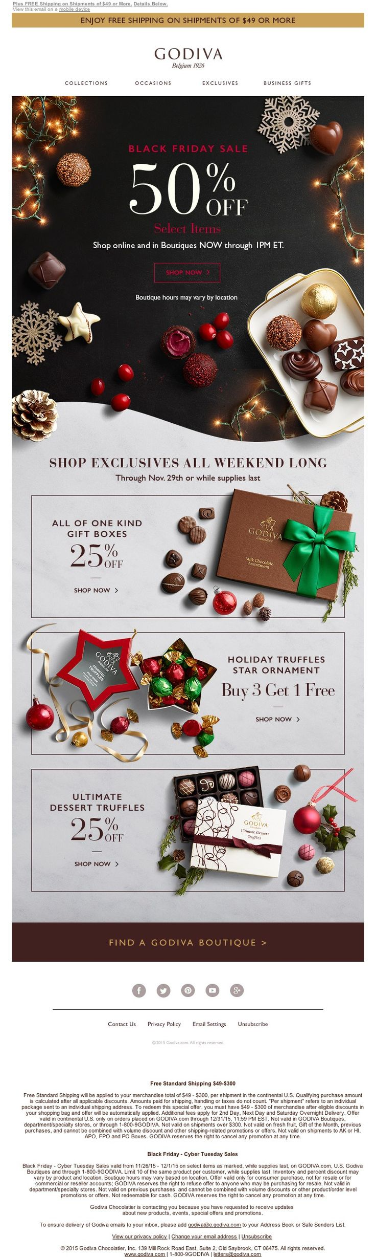 Godiva - 11/27/15 SL: HOURS LEFT: 50% Off Black Friday Sale FREE Shipping