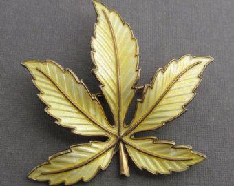 Norway Sterling Enamel Brooch Vintage Yellow Leaf Pin