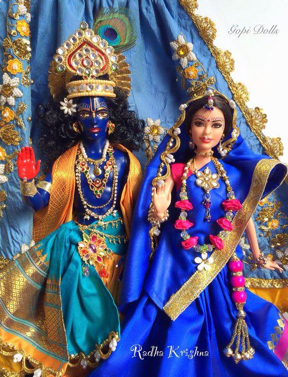 Radha Krishna Gopi Dolls - customized Barbie and Ken Dolls