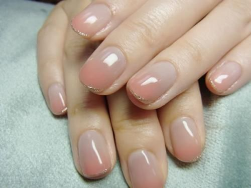 subtle peach ombre with thin gold glitter rips