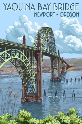 Newport, Oregon - Yaquina Bay Bridge - Lantern Press Poster