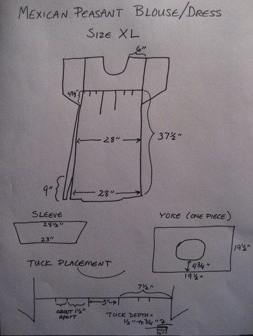 Mexican peasant blouse/dress pattern to draft/sew