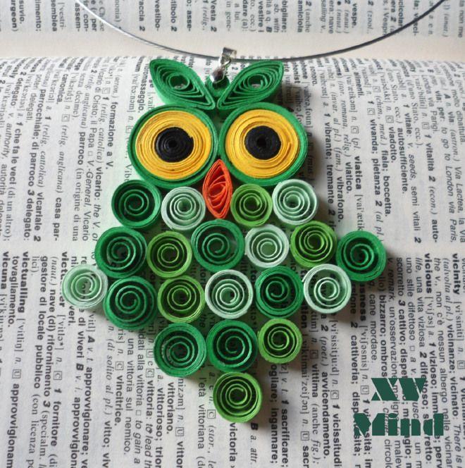 Handmade Green Paper Owl Pendant by XV Mind - Ciondolo Girocollo Verde Gufo di carta Fatto a mano by XV Mind