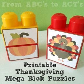 Printable Thanksgiving Mega Blok puzzles for toddlers and preschoolers - From ABC's to ACT's